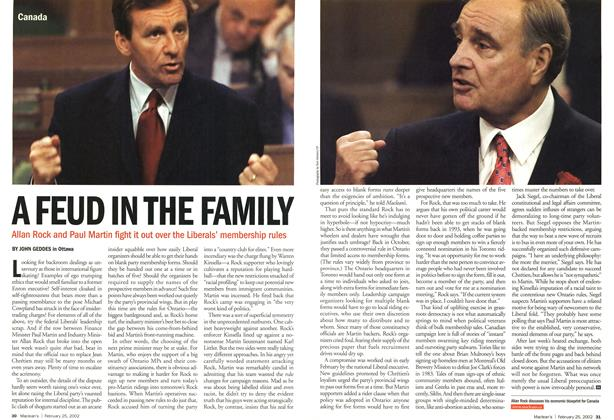 Article Preview: A FEUD IN THE FAMILY, February 2002 | Maclean's