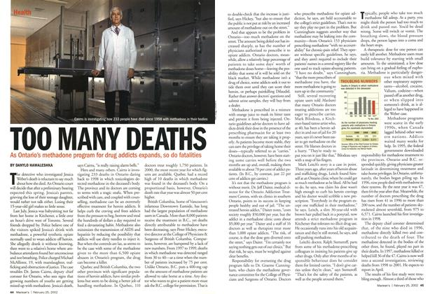 Article Preview: TOO MANY DEATHS, February 2002 | Maclean's