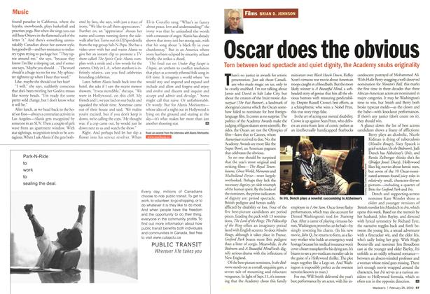 Article Preview: Oscar does the obvious, February 2002 | Maclean's