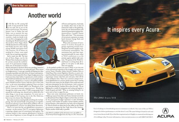 Article Preview: Another world, February 2002 | Maclean's