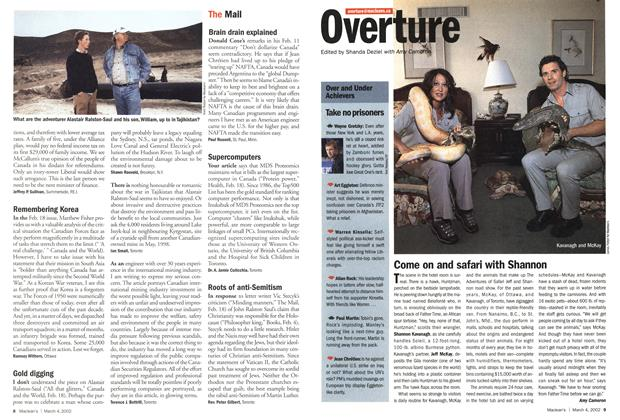 Article Preview: Overture, March 4,2002 2002 | Maclean's