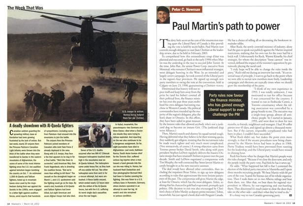 Article Preview: Paul Martin's path to power, March 2002 | Maclean's