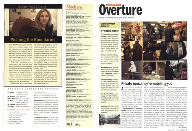 Article Preview: Private eyes, they're watching you, March 2002 | Maclean's