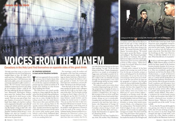 Article Preview: VOICES FROM THE MAYHEM, March 2002 | Maclean's