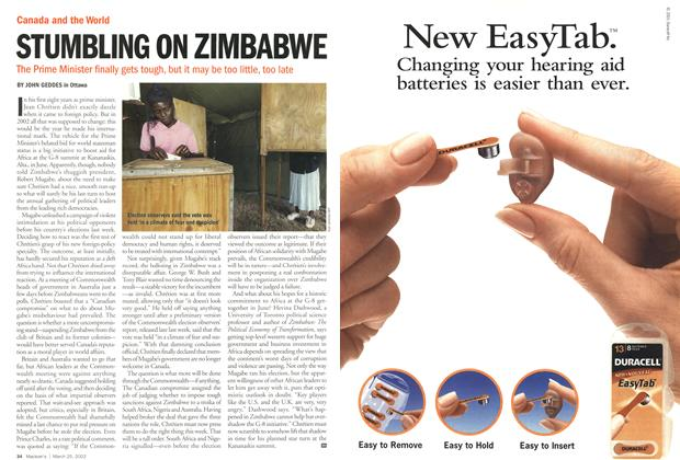 Article Preview: STUMBLING ON ZIMBABWE, March 2002 | Maclean's