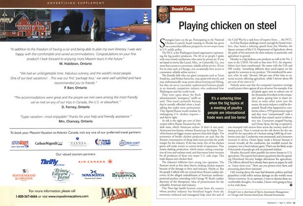 Article Preview: Playing chicken on steel, April 2002 | Maclean's