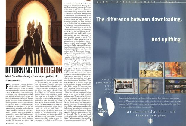 Article Preview: RETURNING TO RELIGION, April 2002 | Maclean's