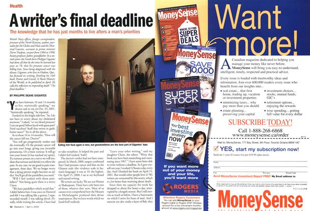 Article Preview: A writer's final deadline, April 2002 | Maclean's