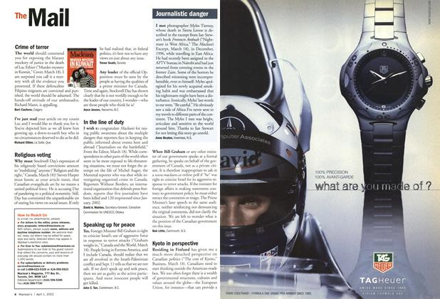 Article Preview: The Mail, April 2002 | Maclean's