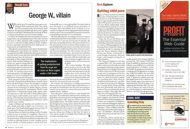 Article Preview: George W., villain, April 2002 | Maclean's