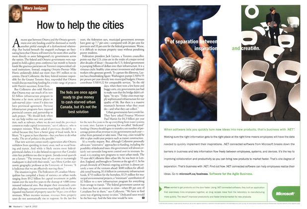 Article Preview: How to help the cities, April 2002 | Maclean's
