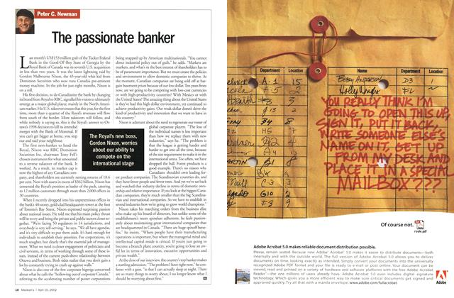 Article Preview: The passionate banker, April 2002 | Maclean's