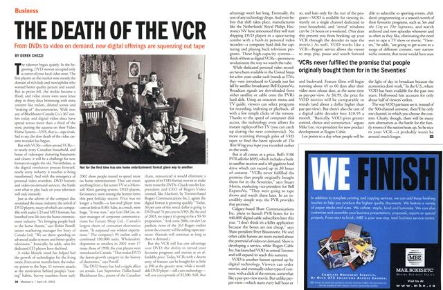 Article Preview: THE DEATH OF THE VCR, April 2002 | Maclean's