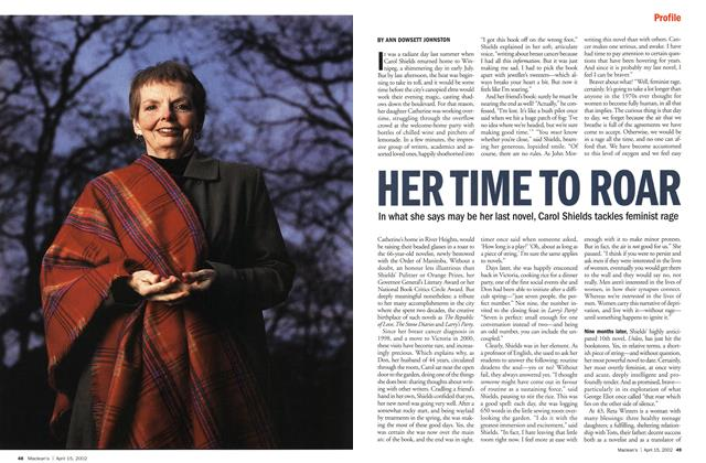 Article Preview: HER TIME TO ROAR, April 2002 | Maclean's