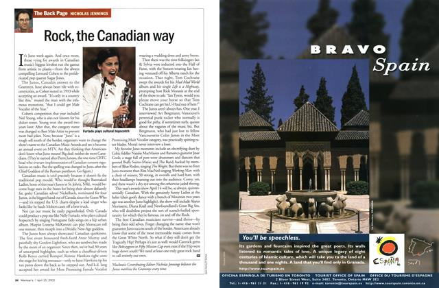 Article Preview: Rock, the Canadian way, April 2002 | Maclean's