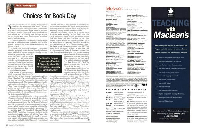 Article Preview: Choices for Book Day, April 2002 | Maclean's