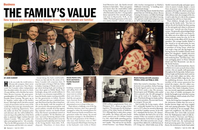 Article Preview: THE FAMILY'S VALUE, April 2002 | Maclean's