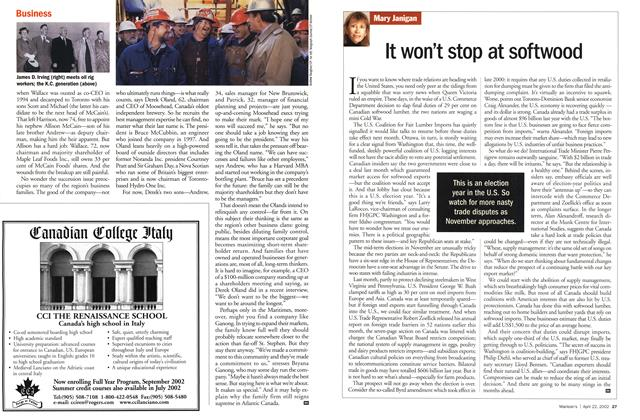 Article Preview: It won't stop at softwood, April 2002 | Maclean's
