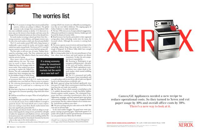 Article Preview: The worries list, April 2002 | Maclean's