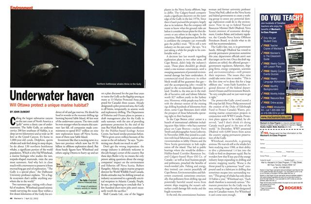 Article Preview: Underwater haven, April 2002 | Maclean's