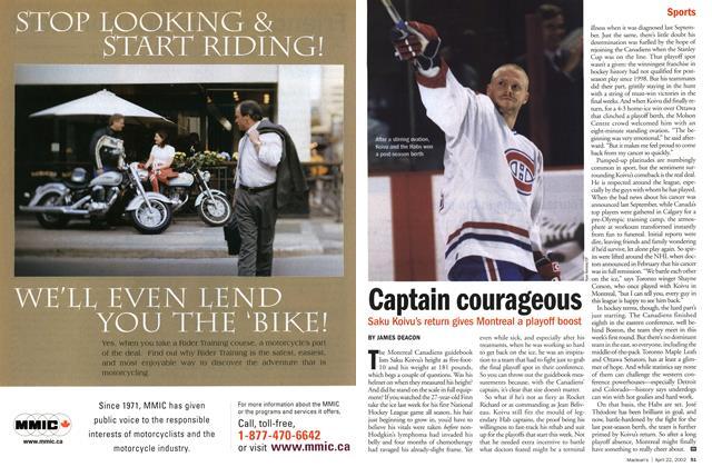 Article Preview: Captain courageous, April 2002 | Maclean's