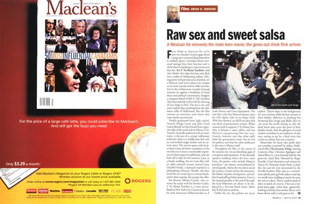 Article Preview: Raw sex and sweet salsa, April 2002 | Maclean's