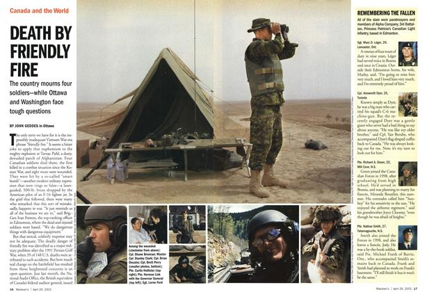Article Preview: DEATH BY FRIENDLY FIRE, April 2002 | Maclean's