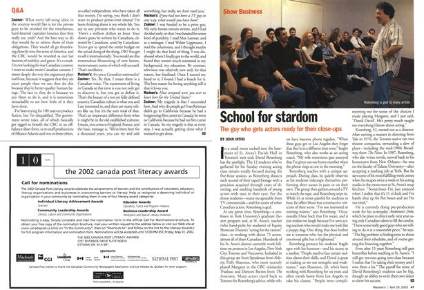 Article Preview: School for stardom, April 2002 | Maclean's