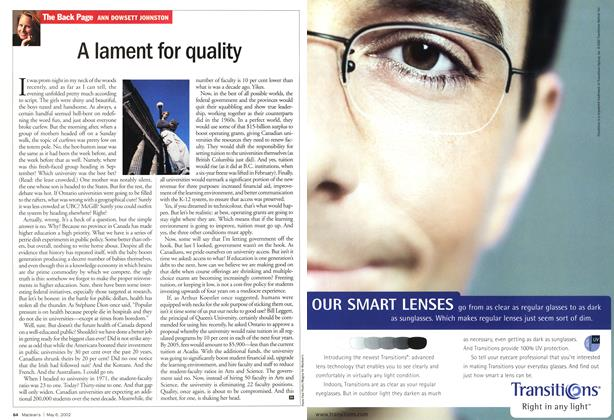 Article Preview: A lament for quality, May 2002 | Maclean's