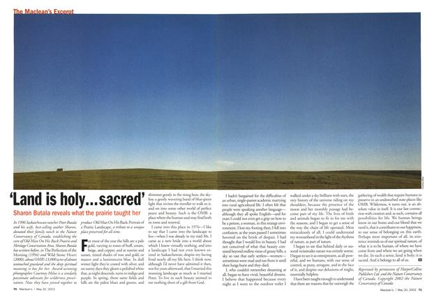 Article Preview: 'Land is holy...sacred', May 2002 | Maclean's