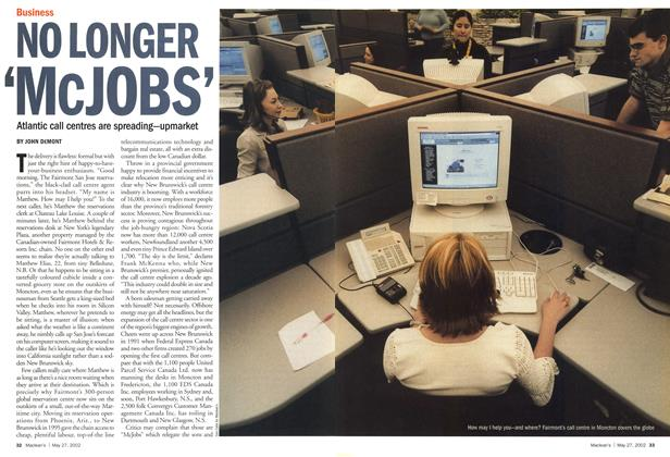 Article Preview: NO LONGER 'McJOBS', May 2002 | Maclean's