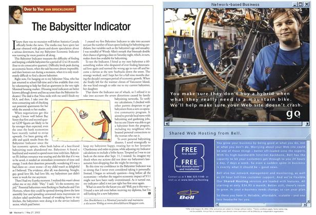 Article Preview: The Babysitter Indicator, May 2002   Maclean's