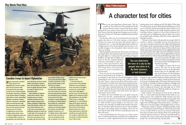 Article Preview: A character test for cities, June 2002   Maclean's