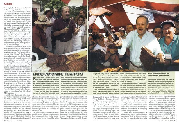 Article Preview: A BARBECUE SEASON WITHOUT THE MAIN COURSE, June 2002 | Maclean's
