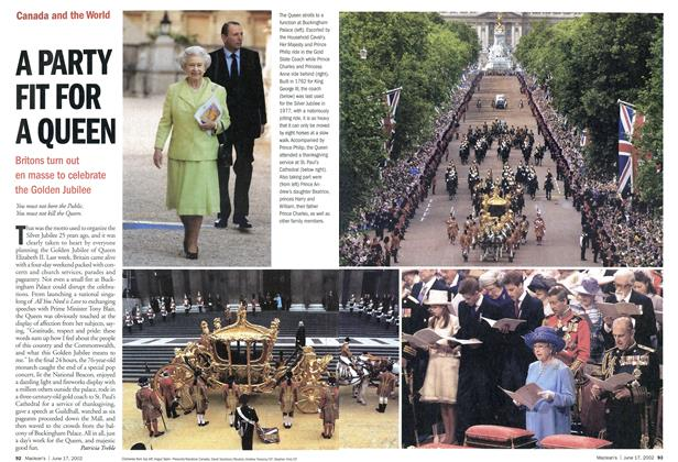 Article Preview: A PARTY FIT FOR A QUEEN, June 2002 | Maclean's