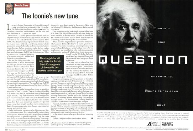 Article Preview: The loonie's new tune, June 2002 | Maclean's