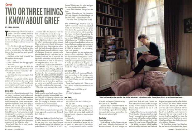 Article Preview: TWO OR THREE THINGS I KNOW ABOUT GRIEF, June 2002 | Maclean's