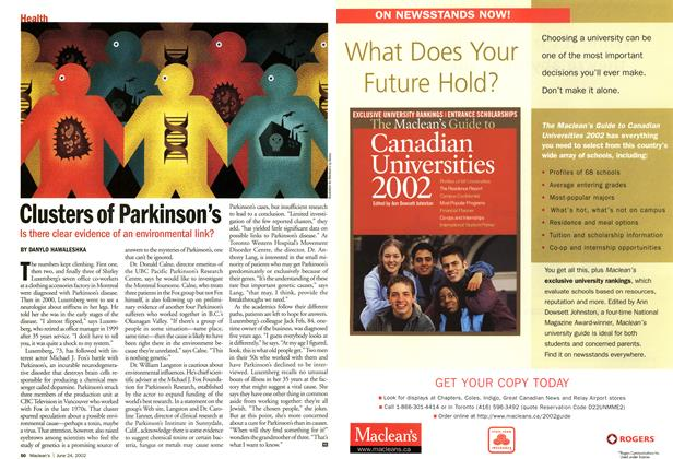 Article Preview: Clusters of Parkinson's, June 2002 | Maclean's
