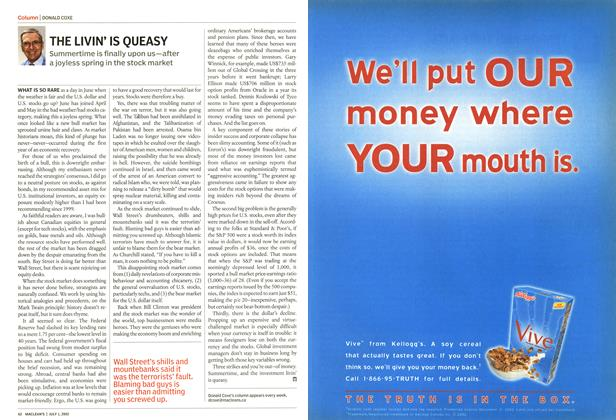 Article Preview: THE LIVIN' IS QUEASY, July 2002 | Maclean's