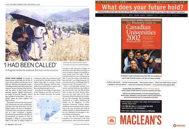 Article Preview: 'I HAD BEEN CALLED', July 2002 | Maclean's