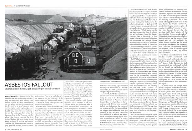 Article Preview: ASBESTOS FALLOUT, July 2002 | Maclean's
