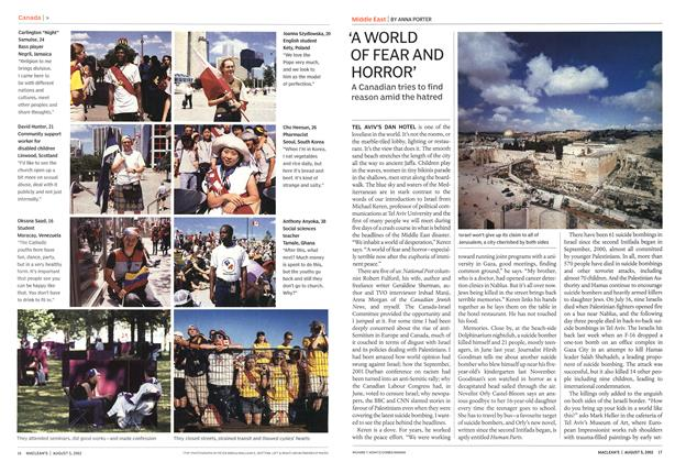 Article Preview: 'A WORLD OF FEARAND HORROR', August 2002   Maclean's