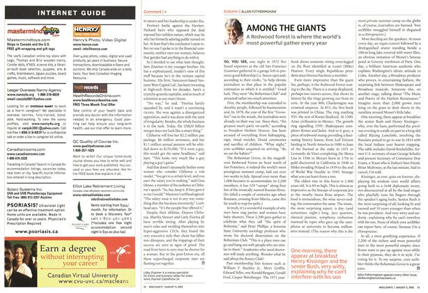 Article Preview: AMONG THE GIANTS, August 2002 | Maclean's