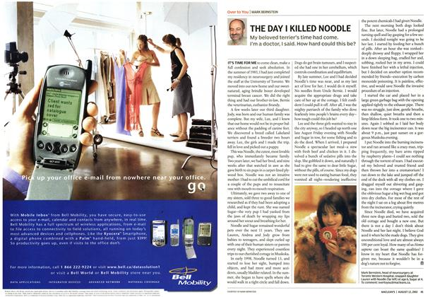 Article Preview: THE DAY I KILLED NOODLE, August 2002   Maclean's