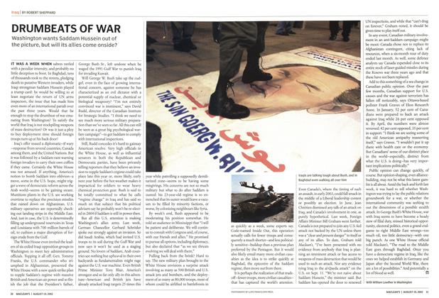 Article Preview: DRUMBEATS OF WAR, August 2002 | Maclean's