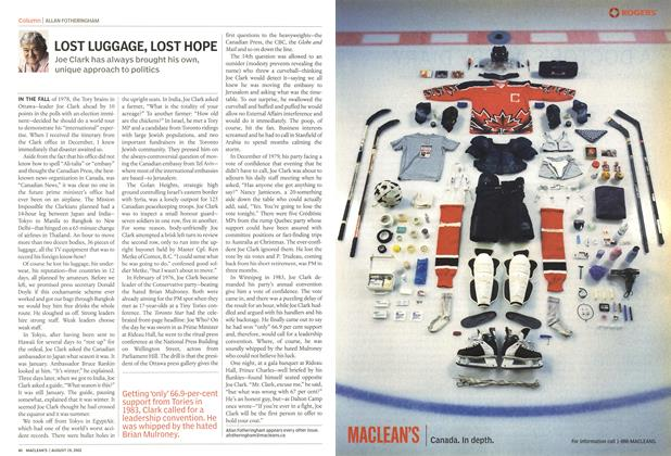 Article Preview: LOST LUGGAGE, LOST HOPE, August 2002 | Maclean's