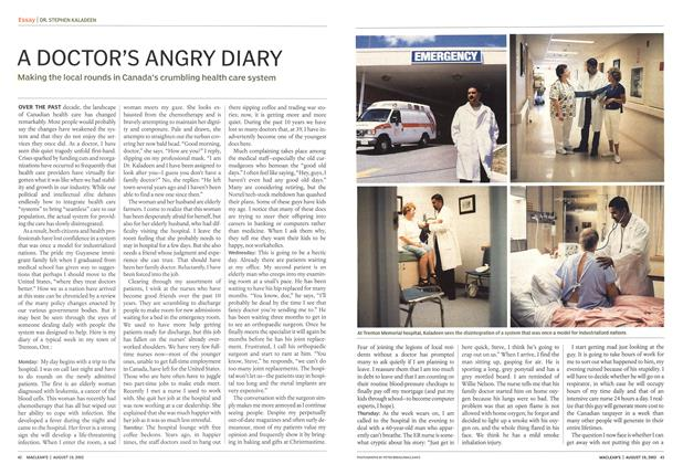Article Preview: A DOCTOR'S ANGRY DIARY, August 2002 | Maclean's