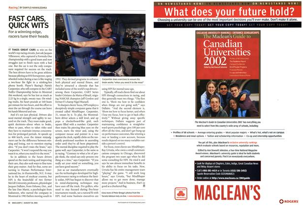 Article Preview: FAST CARS, QUICK WITS, August 2002 | Maclean's
