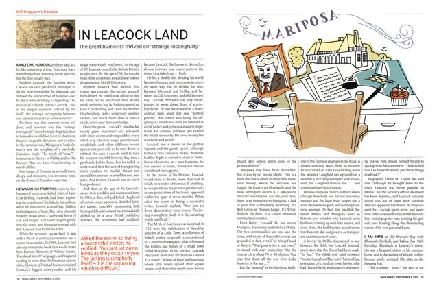 Article Preview: IN LEACOCK LAND, September 2002 | Maclean's