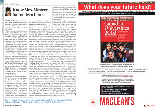 Article Preview: A new Mrs. Miniver for modern times, September 2002 | Maclean's